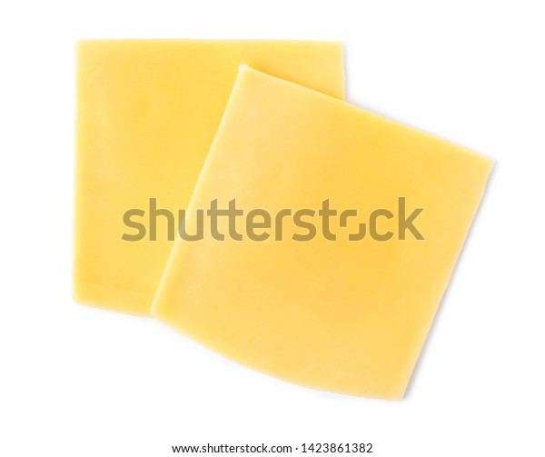 Slices of cheese for burger isolated on white, top view