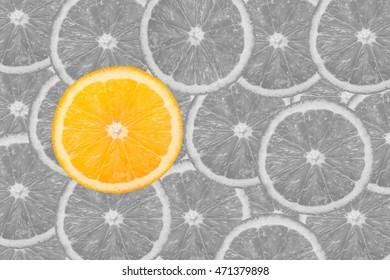 Slices of citrus black and white on bright orange background.