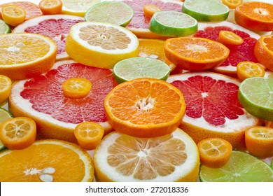 slices citrus top view  surface close up