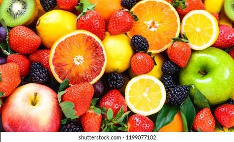 slices of colourfull fruits - Shutterstock ID 1199077102