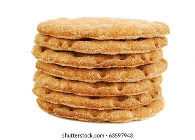 slices of crispbread isolated on white background. It's good alternative for traditional bread.