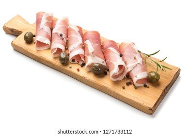Slices of cured ham similar to italian prosciutto or spanish jamon iberico