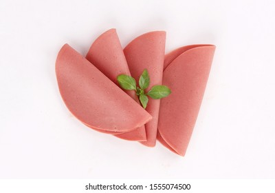 slices of deli meat, cold cuts, appetisers, ham, mortadella, salami on white background