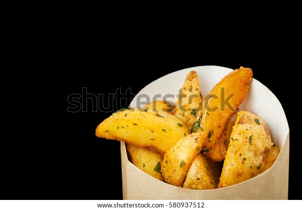 Slices Delicious Fried Potatoes Spices Cardboard Stock Photo Edit Now 580937512