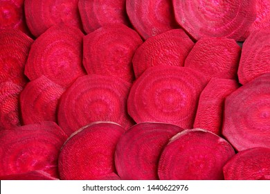 Slices of fresh beet, closeup