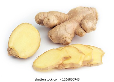 Slices of fresh Ginger root isolated on white background. Close-up of fresh sliced Ginger and a whole Ginger Root isolated on white Background.