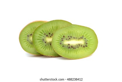 slices of fresh kiwi fruit isolated on white background