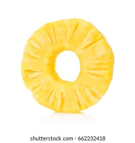 Slices of Fresh pineapple, Donut shapes, Canned pineapple, isolated on white background.