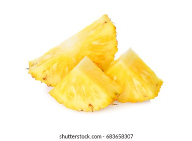 Slices of Fresh pineapple fruits isolated on white background.