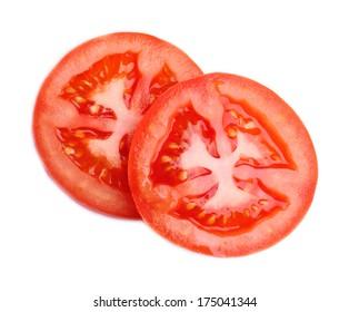Slices of fresh tomato, isolated on white