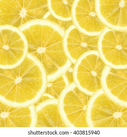 A slices of fresh yellow lemon texture background pattern. Lemon pieces in different sizes background. Texture formed by citrus pieces.
