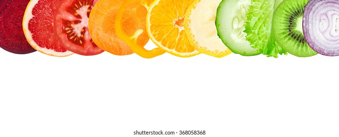 Slices of fruit and vegetable on white background. Fresh food