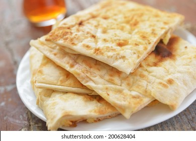 Slices of gozleme with potato on a plate