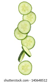 Slices of green cucumber isolated on white