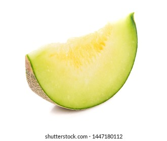 Slices green melon isolated on white background