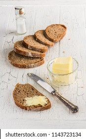 Slices of hemp spelt bread with butter