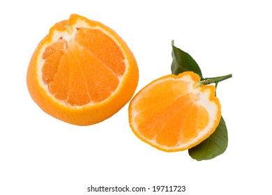 Slices of isolated hallabong (citrus spharocarpa) with two green leaves. Hallabong is a special kind of orange growing only in Korea.