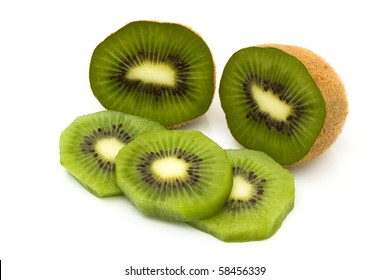 Slices of kiwi isolated on white background, Healthy Food