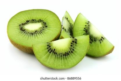 slices of kiwi on a white