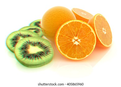slices of kiwi, orange and half orange on a white . 3D illustration. Anaglyph. View with red/cyan glasses to see in 3D.