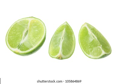 Slices of Lime on White Background