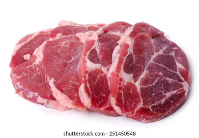 Slices of meat on a white background