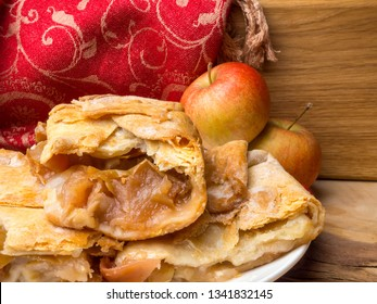 Slices of mouth watering rustic apple pie