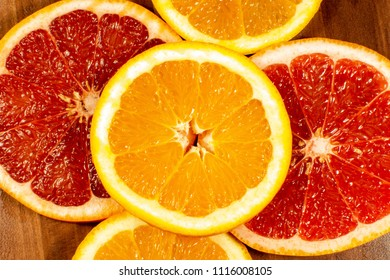 Slices of Orange and Grapefruit