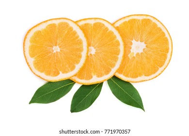 Slices of orange with leaves isolated on white background. Flat lay, top view. Fruit composition