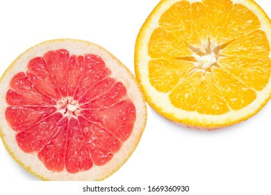 Slices of orange and red grapefruit isolated on white background.