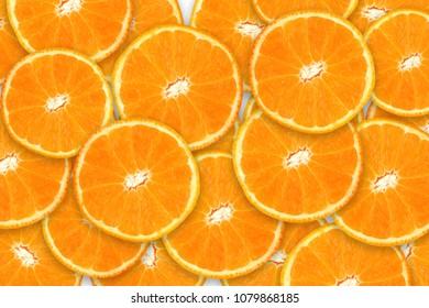 Slices of orange or tangerine isolated on white background.