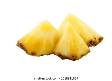 slices of pineapple isolated on white