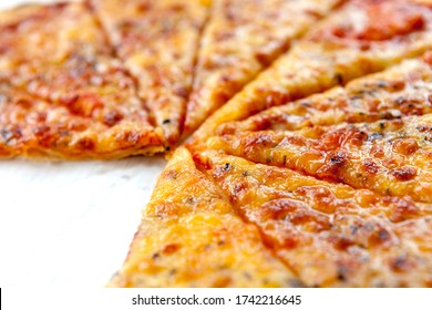 Slices of pizza in closeup
