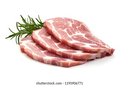 slices pork loin with herbs, isolated on a white background.