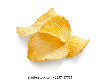 Slices potato chips with red pepper