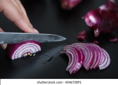 Slices of red onion.