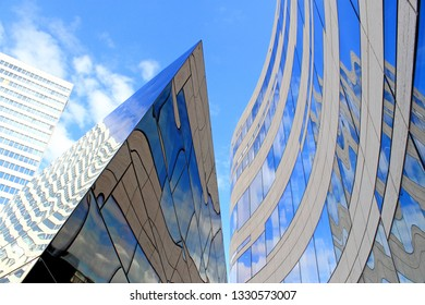 Slices reflection in abstract shot at office building