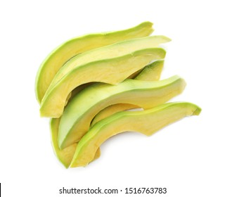 Slices of ripe avocado on white background
