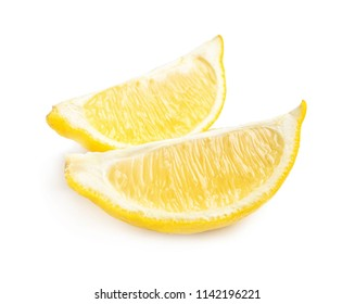 Slices of ripe lemon on white background