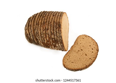 Slices of a rye Bread Loaf isolated on white background