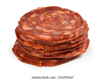 slices of salami isolated on white background. Dry sausage