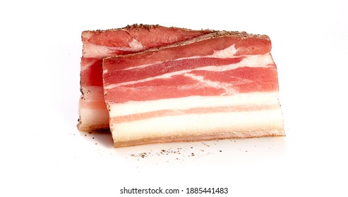 Slices of salo, bacon, lard, silverside, gammo. Pieces, strips of salty high-fat meat cooked with spices