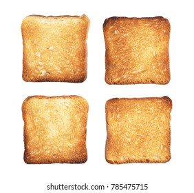 Slices of small toast bread isolated on white background, top view