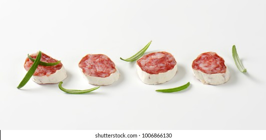 Slices of Spanish thin dried sausage