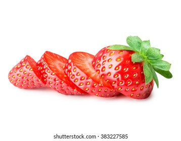 slices strawberries isolated on white background Clipping Path