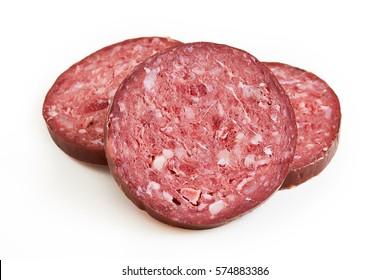 Slices of sucuk (sujuk) sausage isolated on white background