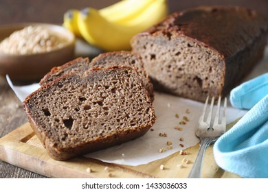 Slices of sweet banana bread from buckwheat flour