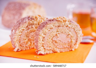 Slices of sweet cream roll