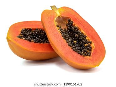 slices of sweet papaya isolated on white background