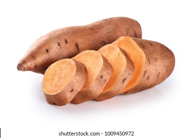 Slices sweet potato isolated on a white background. With clipping path.